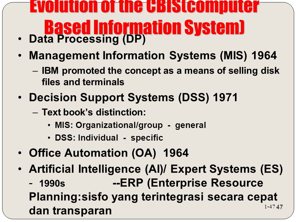 Evolution of the CBIS(computer Based Information System)