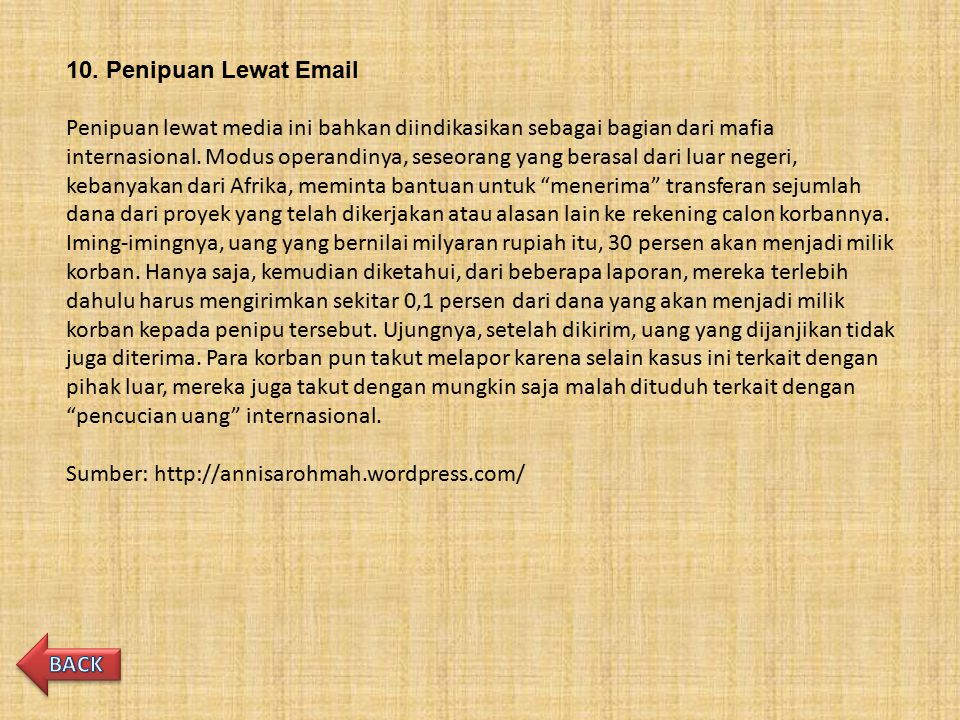 10. Penipuan Lewat Email