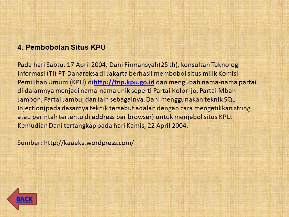 4. Pembobolan Situs KPU