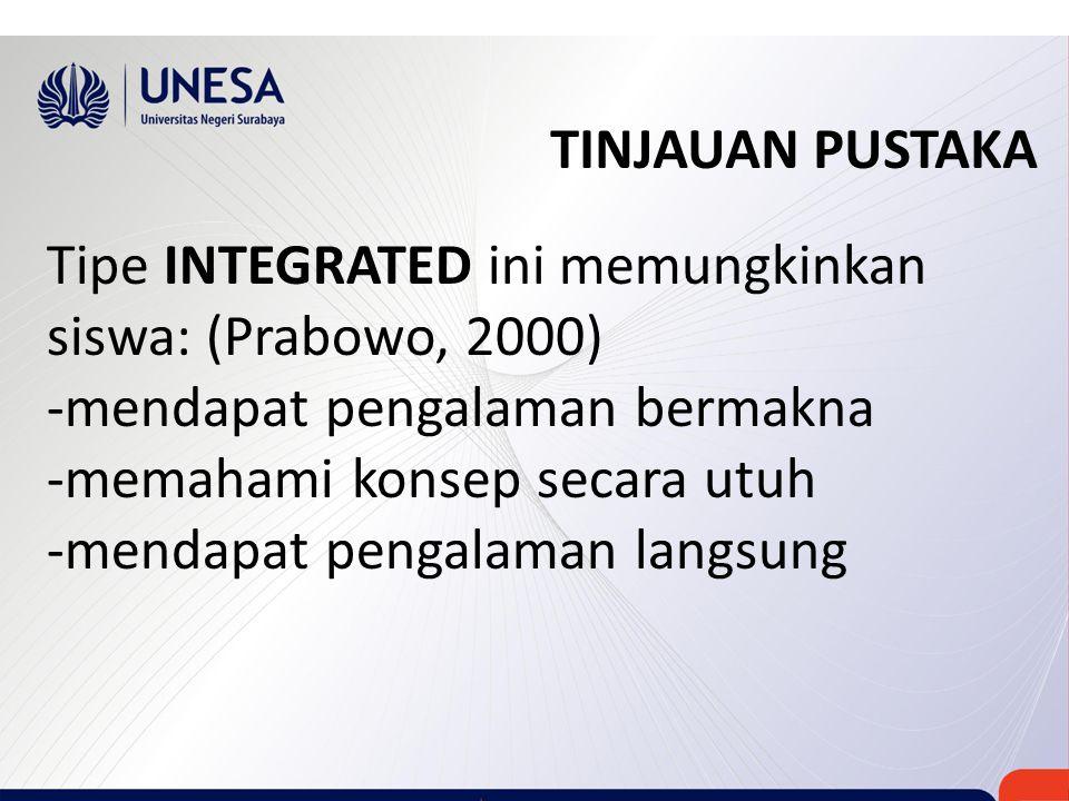 TINJAUAN PUSTAKA Tipe INTEGRATED ini memungkinkan siswa: (Prabowo, 2000) -mendapat pengalaman bermakna.