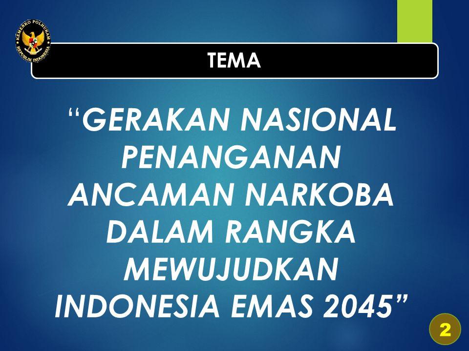 TEMA GERAKAN NASIONAL PENANGANAN ANCAMAN NARKOBA DALAM RANGKA MEWUJUDKAN INDONESIA EMAS 2045 2