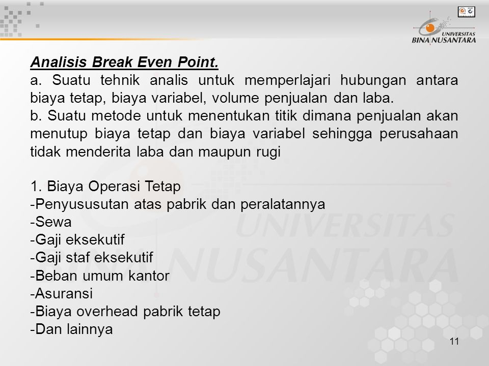 Analisis Break Even Point.