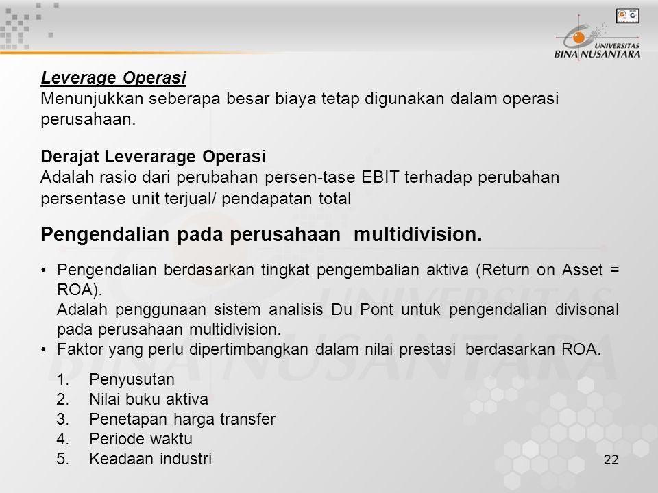 Pengendalian pada perusahaan multidivision.