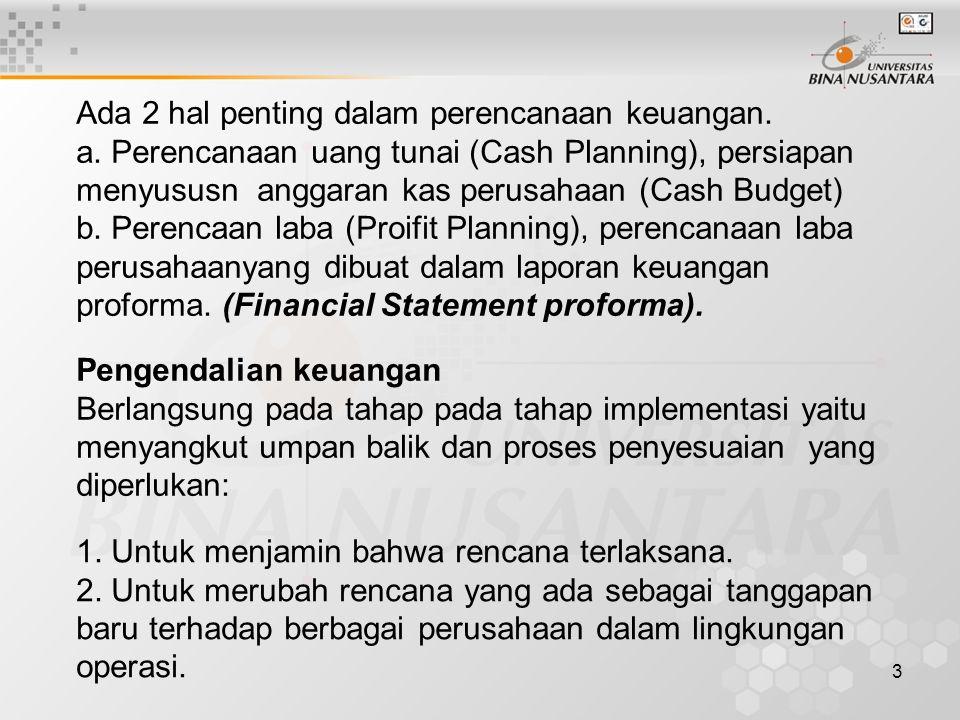 Ada 2 hal penting dalam perencanaan keuangan.