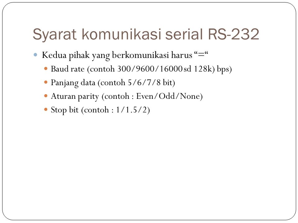 Syarat komunikasi serial RS-232
