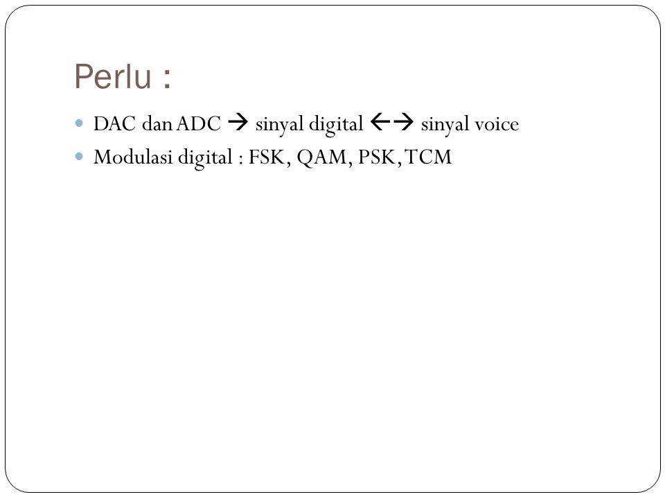 Perlu : DAC dan ADC  sinyal digital  sinyal voice
