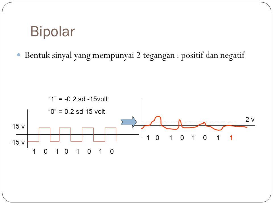 Bipolar Bentuk sinyal yang mempunyai 2 tegangan : positif dan negatif