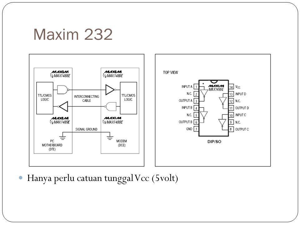 Maxim 232 Hanya perlu catuan tunggal Vcc (5volt)