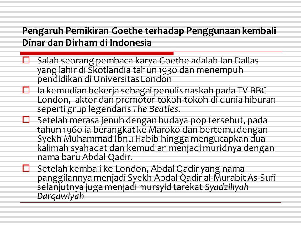 Pengaruh Pemikiran Goethe terhadap Penggunaan kembali Dinar dan Dirham di Indonesia
