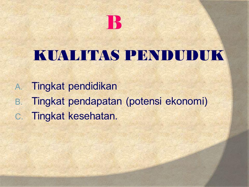 B KUALITAS PENDUDUK Tingkat pendidikan