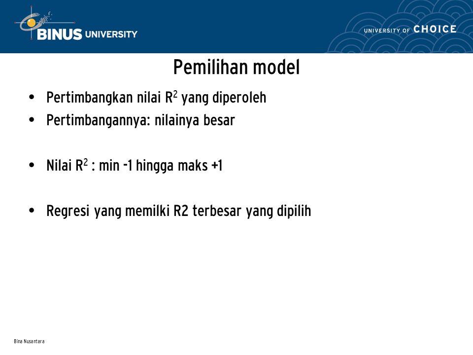 Pemilihan model Pertimbangkan nilai R2 yang diperoleh