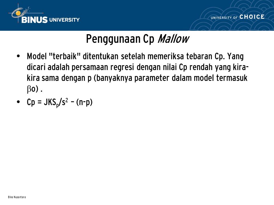 Penggunaan Cp Mallow