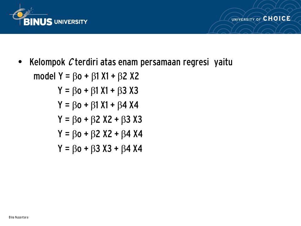 Kelompok C terdiri atas enam persamaan regresi yaitu