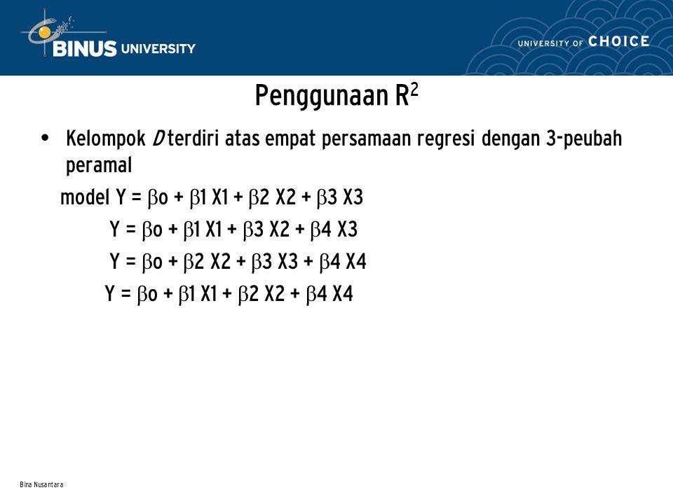 Penggunaan R2 Kelompok D terdiri atas empat persamaan regresi dengan 3-peubah peramal. model Y = βo + β1 X1 + β2 X2 + β3 X3.