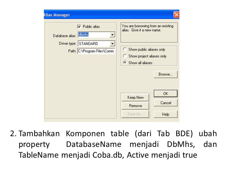 Tambahkan Komponen table (dari Tab BDE) ubah property DatabaseName menjadi DbMhs, dan TableName menjadi Coba.db, Active menjadi true
