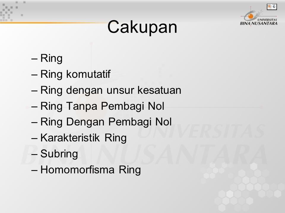Cakupan Ring Ring komutatif Ring dengan unsur kesatuan