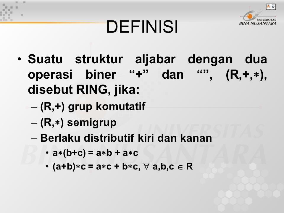 DEFINISI Suatu struktur aljabar dengan dua operasi biner + dan , (R,+,), disebut RING, jika: (R,+) grup komutatif.