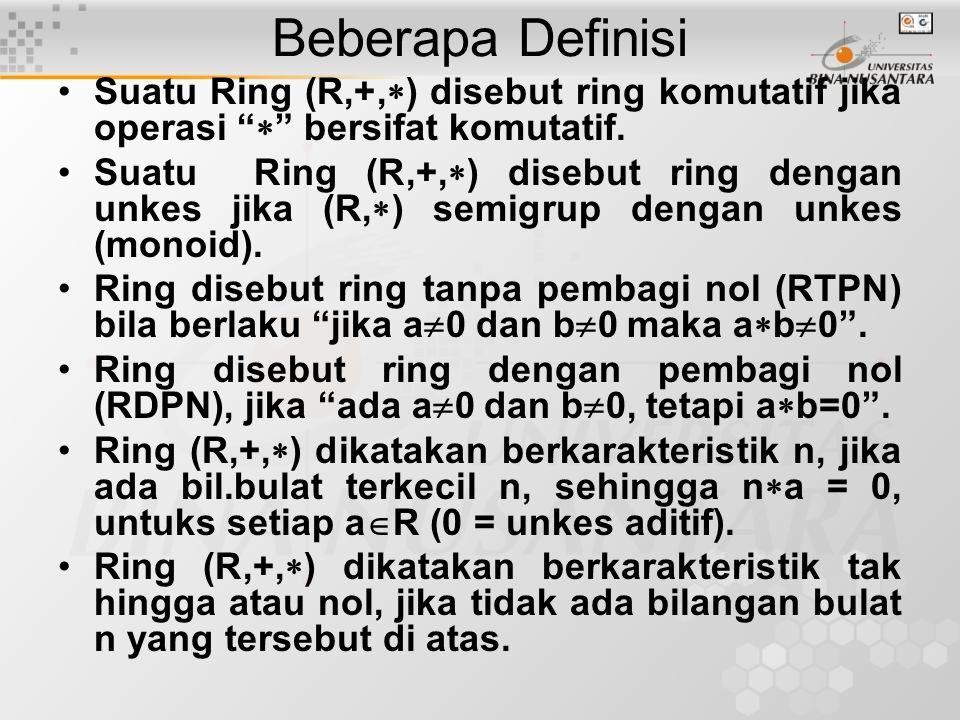 Beberapa Definisi Suatu Ring (R,+,) disebut ring komutatif jika operasi  bersifat komutatif.