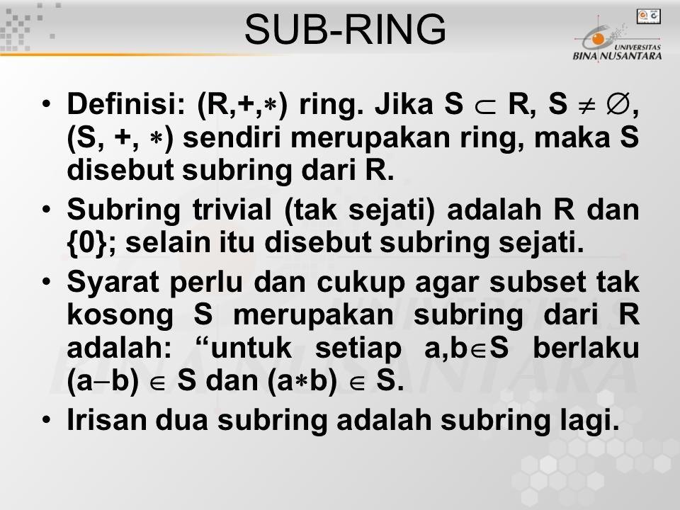 SUB-RING Definisi: (R,+,) ring. Jika S  R, S  , (S, +, ) sendiri merupakan ring, maka S disebut subring dari R.