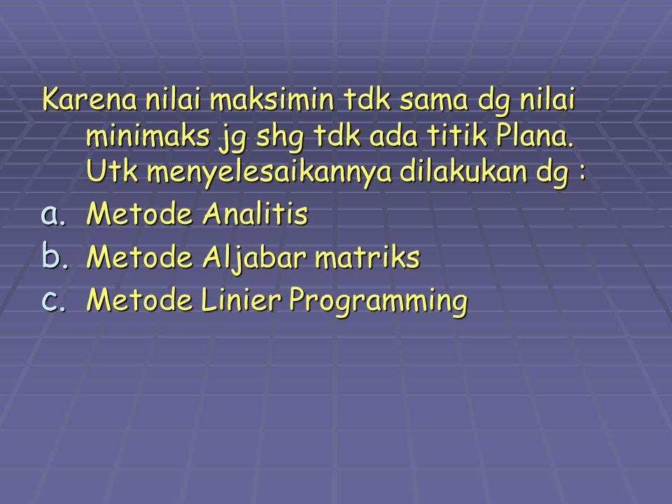 Karena nilai maksimin tdk sama dg nilai minimaks jg shg tdk ada titik Plana. Utk menyelesaikannya dilakukan dg :