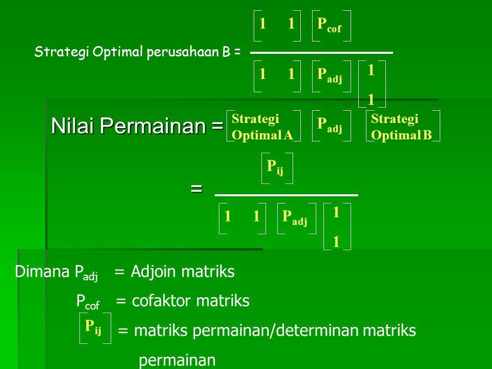 Nilai Permainan = = 1 1 Pcof 1 1 1 Padj Padj Pij 1 1 1 Padj
