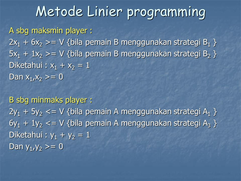 Metode Linier programming
