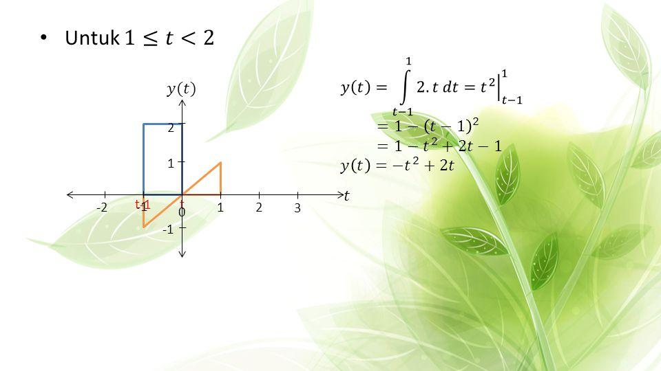 Untuk 1≤𝑡<2 𝑦 𝑡 = 𝑡−1 1 2.𝑡 𝑑𝑡 = 𝑡 2 𝑡−1 1 𝑦(𝑡) =1− 𝑡−1 2