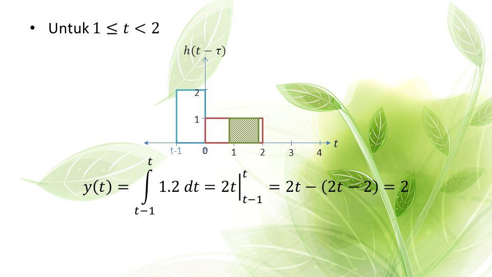 Untuk 1≤𝑡<2 𝑦 𝑡 = 𝑡−1 𝑡 1.2 𝑑𝑡 = 2𝑡 𝑡−1 𝑡 =2𝑡− 2𝑡−2 =2 ℎ(𝑡−𝜏) 𝑡 1 2