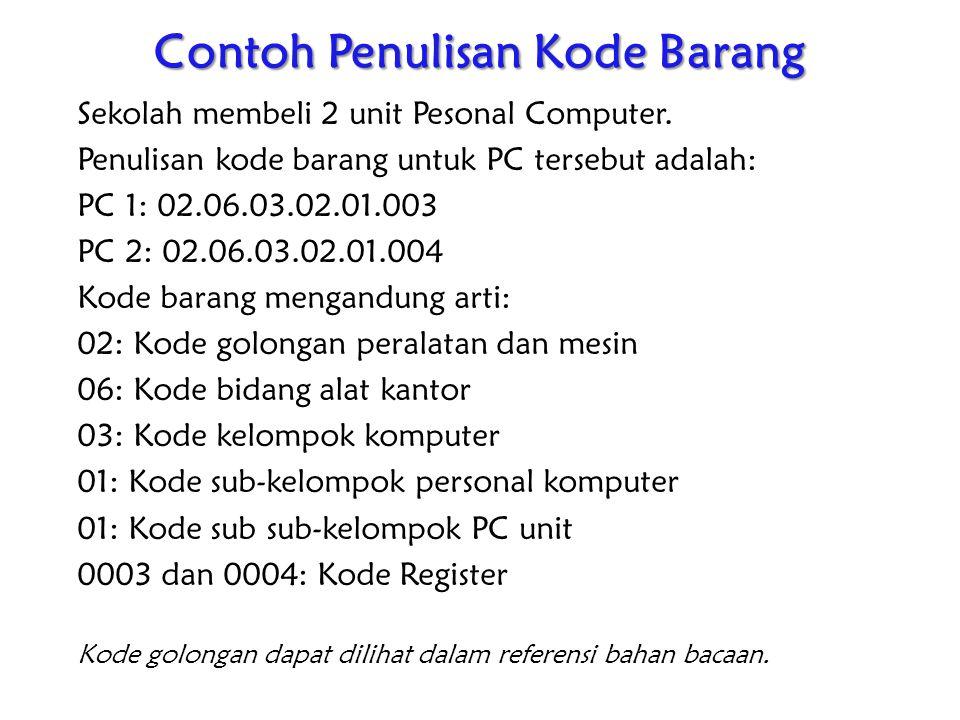 Contoh Penulisan Kode Barang
