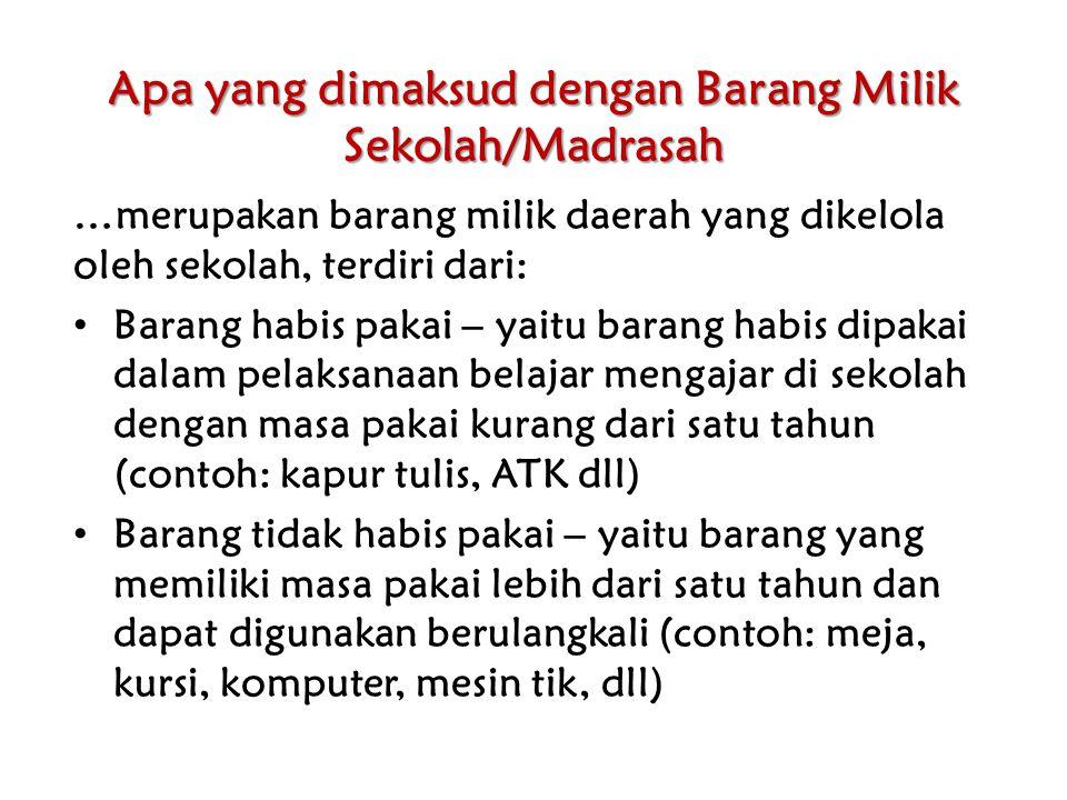 Apa yang dimaksud dengan Barang Milik Sekolah/Madrasah