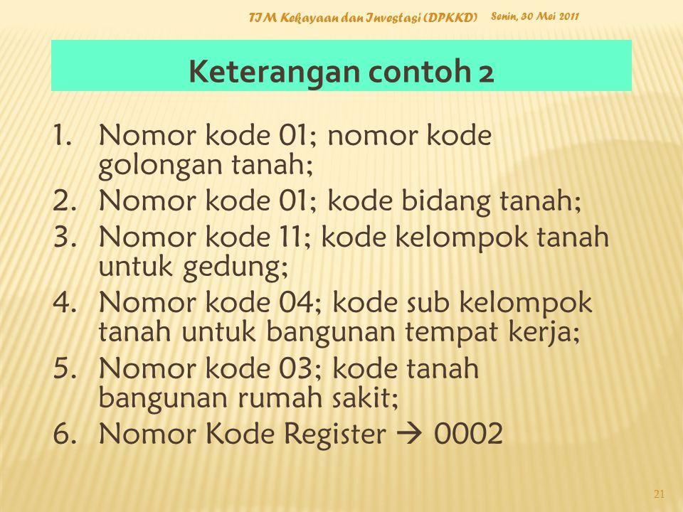 Keterangan contoh 2 Nomor kode 01; nomor kode golongan tanah;