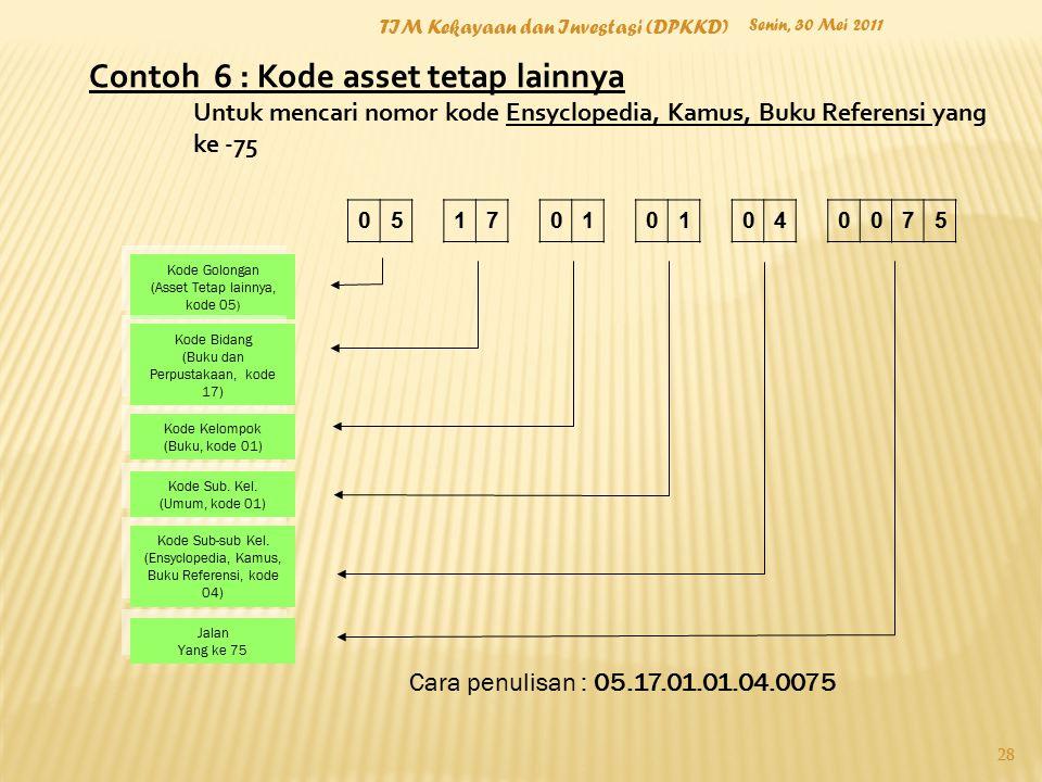 Contoh 6 : Kode asset tetap lainnya