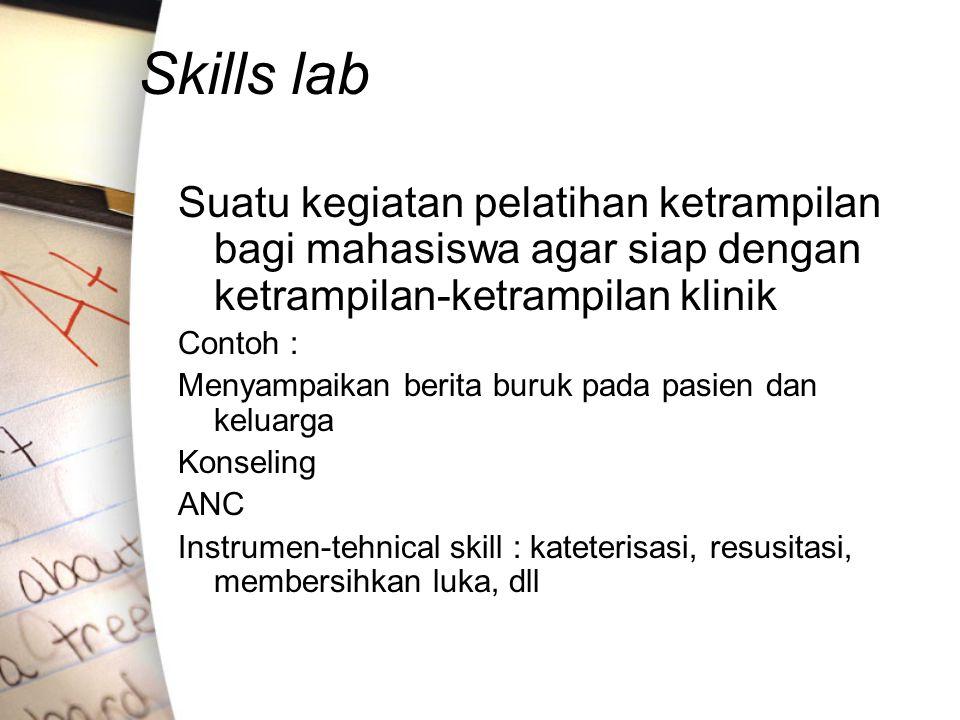 Skills lab Suatu kegiatan pelatihan ketrampilan bagi mahasiswa agar siap dengan ketrampilan-ketrampilan klinik.