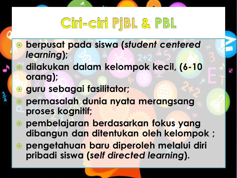 Ciri-ciri PjBL & PBL berpusat pada siswa (student centered learning);