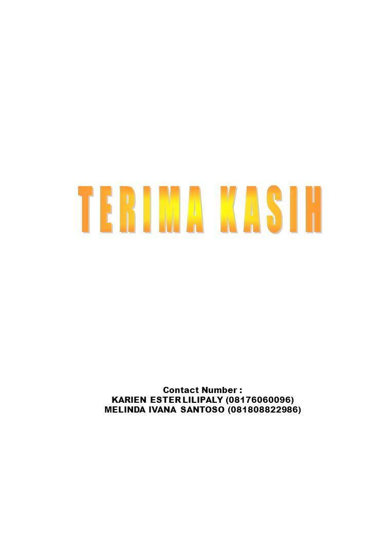 TERIMA KASIH Contact Number : KARIEN ESTER LILIPALY (08176060096)