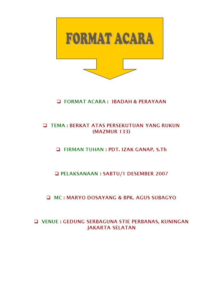 FORMAT ACARA FORMAT ACARA : IBADAH & PERAYAAN