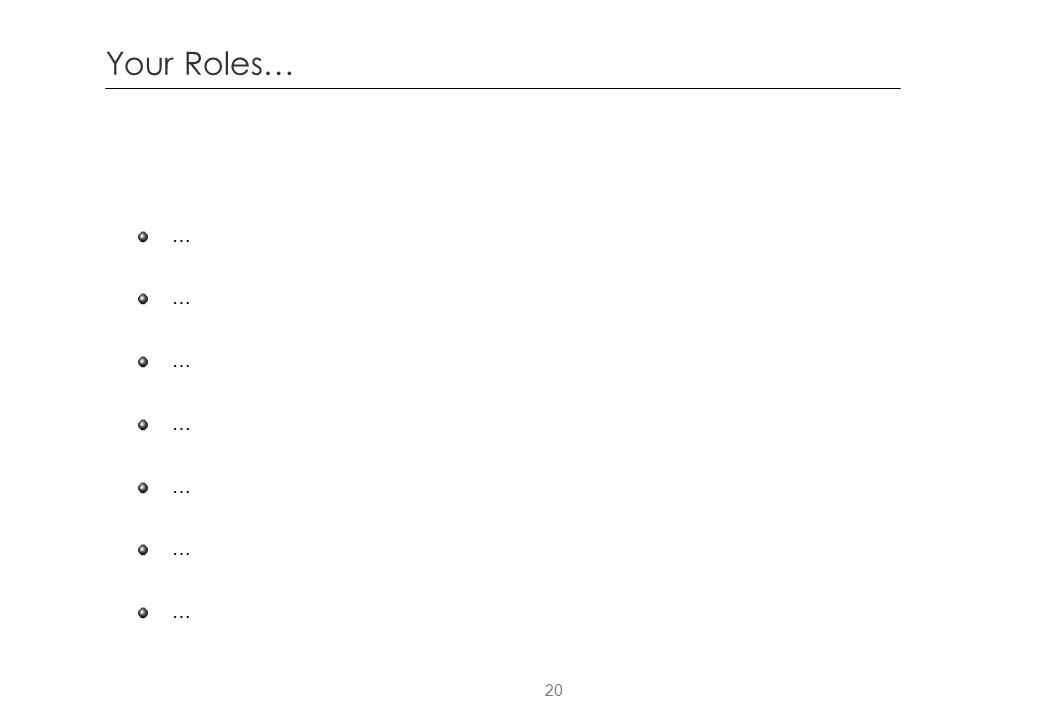 Your Roles… …