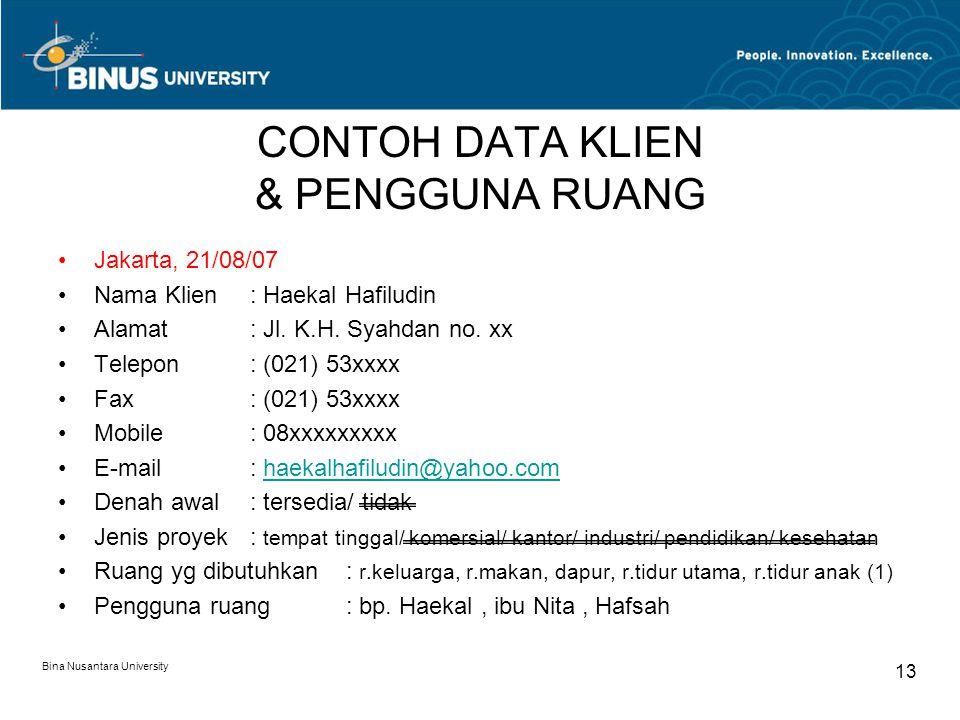 CONTOH DATA KLIEN & PENGGUNA RUANG