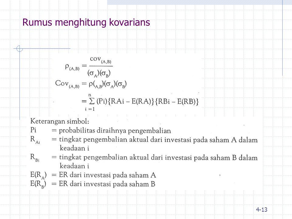 Rumus menghitung kovarians
