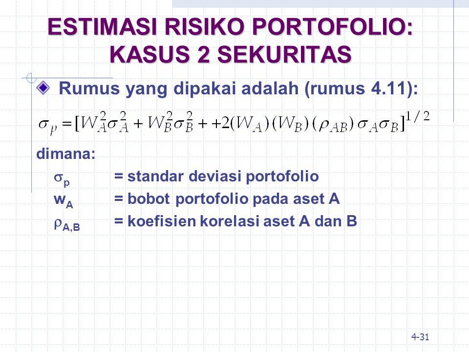 ESTIMASI RISIKO PORTOFOLIO: KASUS 2 SEKURITAS