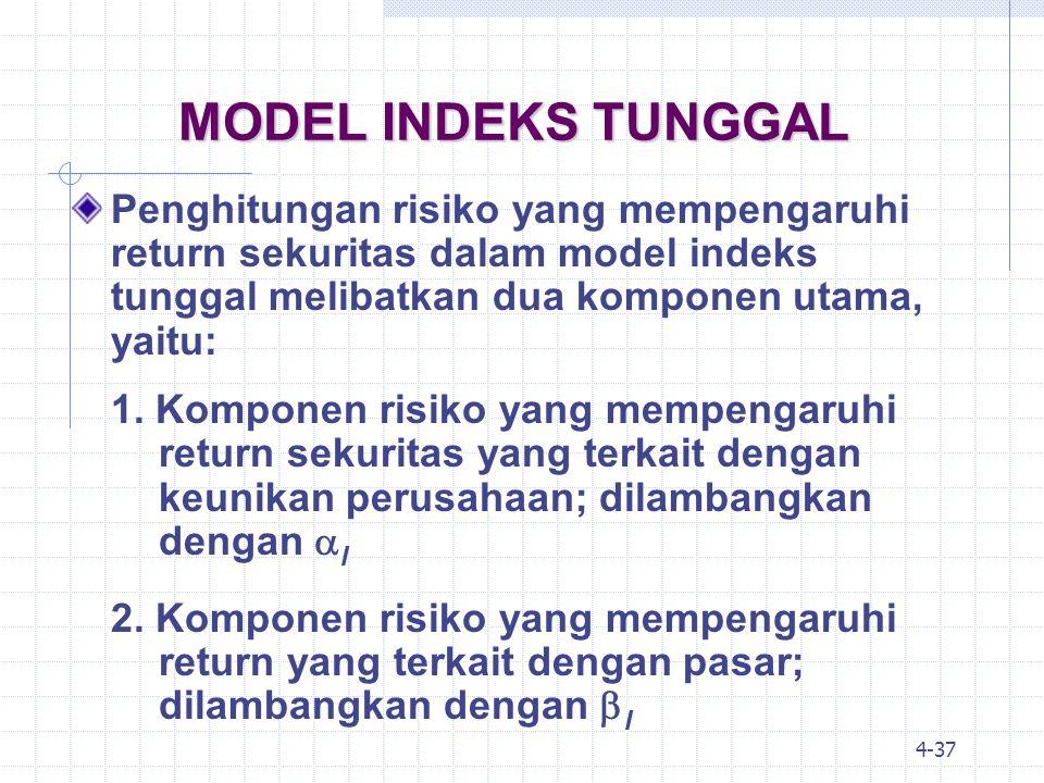 MODEL INDEKS TUNGGAL Penghitungan risiko yang mempengaruhi return sekuritas dalam model indeks tunggal melibatkan dua komponen utama, yaitu: