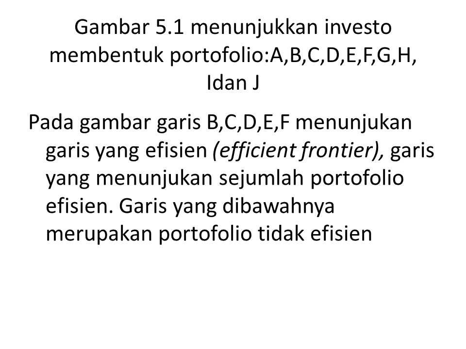 Gambar 5.1 menunjukkan investo membentuk portofolio:A,B,C,D,E,F,G,H, Idan J