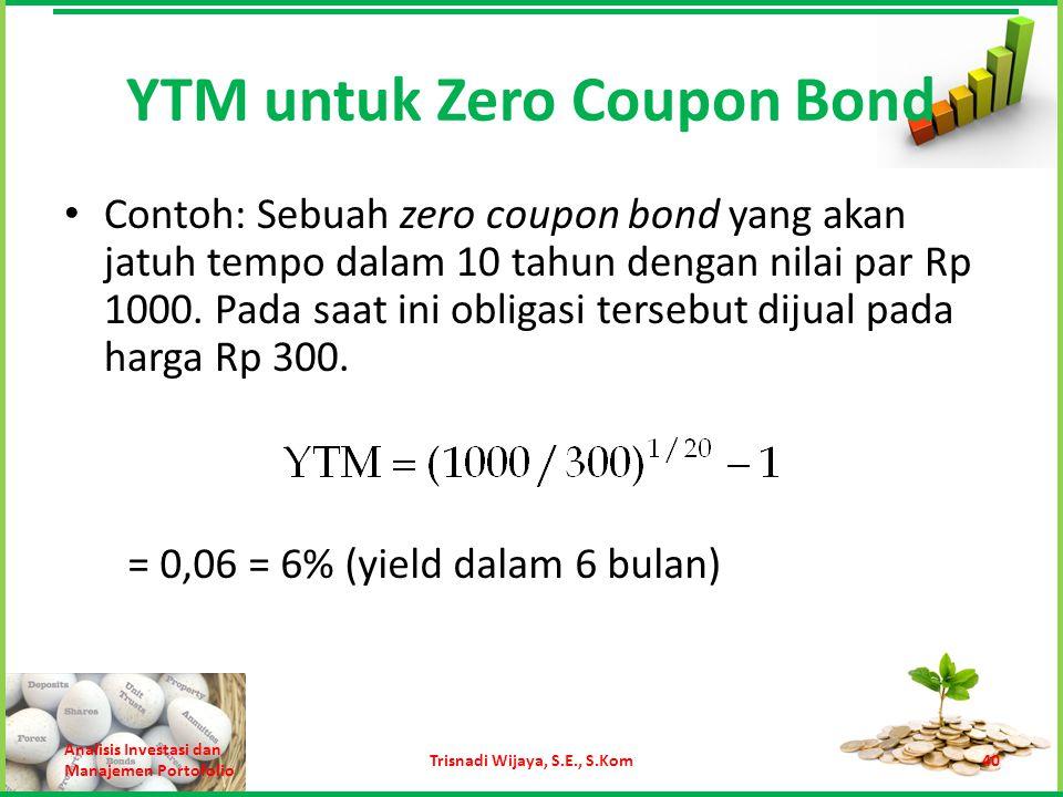 YTM untuk Zero Coupon Bond