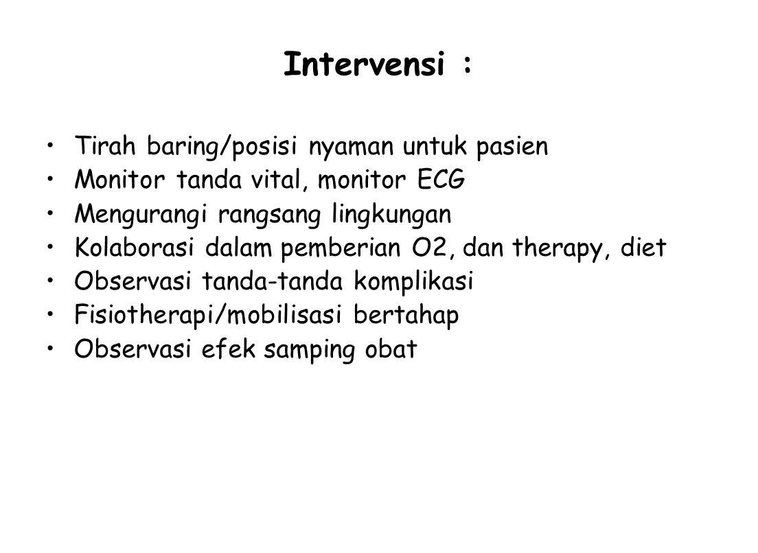 Intervensi : Tirah baring/posisi nyaman untuk pasien