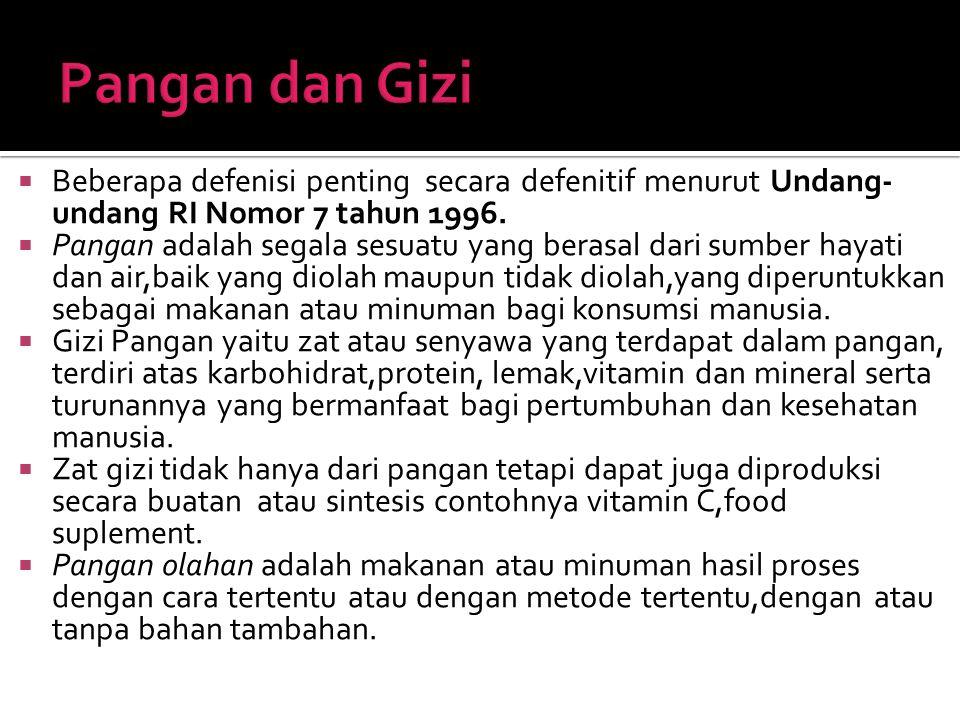 Pangan dan Gizi Beberapa defenisi penting secara defenitif menurut Undang- undang RI Nomor 7 tahun 1996.