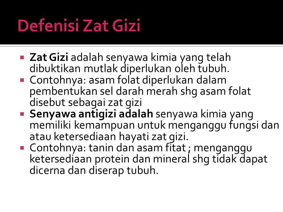 Defenisi Zat Gizi Zat Gizi adalah senyawa kimia yang telah dibuktikan mutlak diperlukan oleh tubuh.