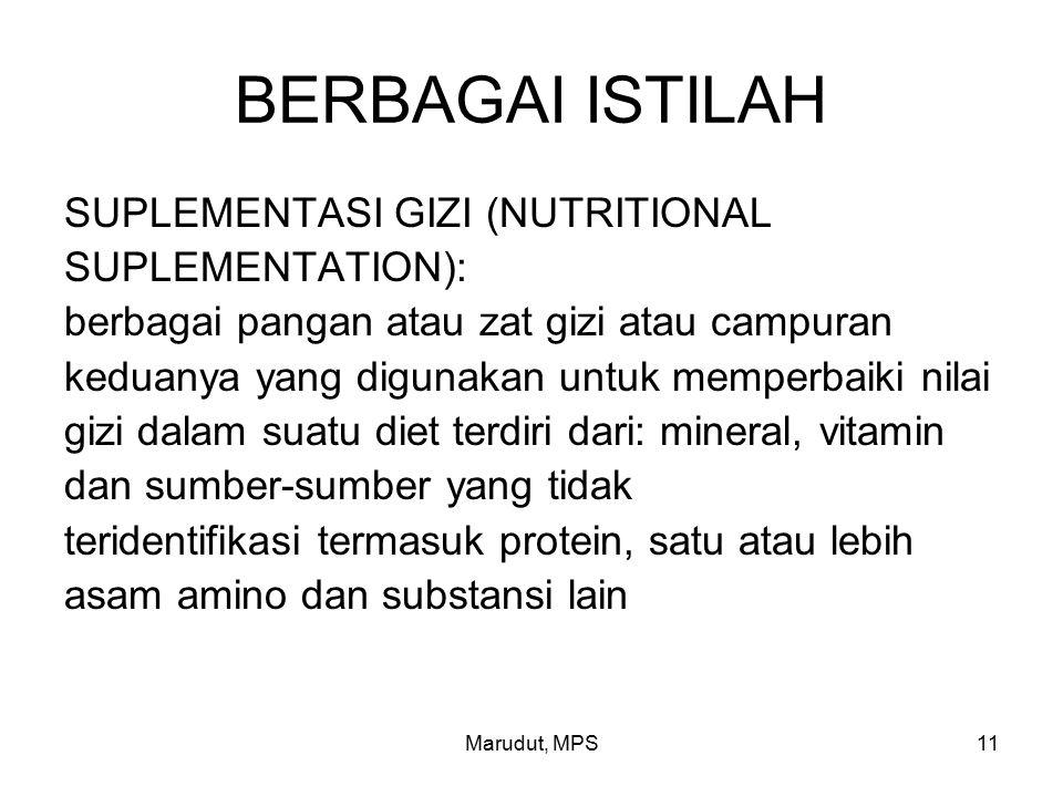 BERBAGAI ISTILAH SUPLEMENTASI GIZI (NUTRITIONAL SUPLEMENTATION):