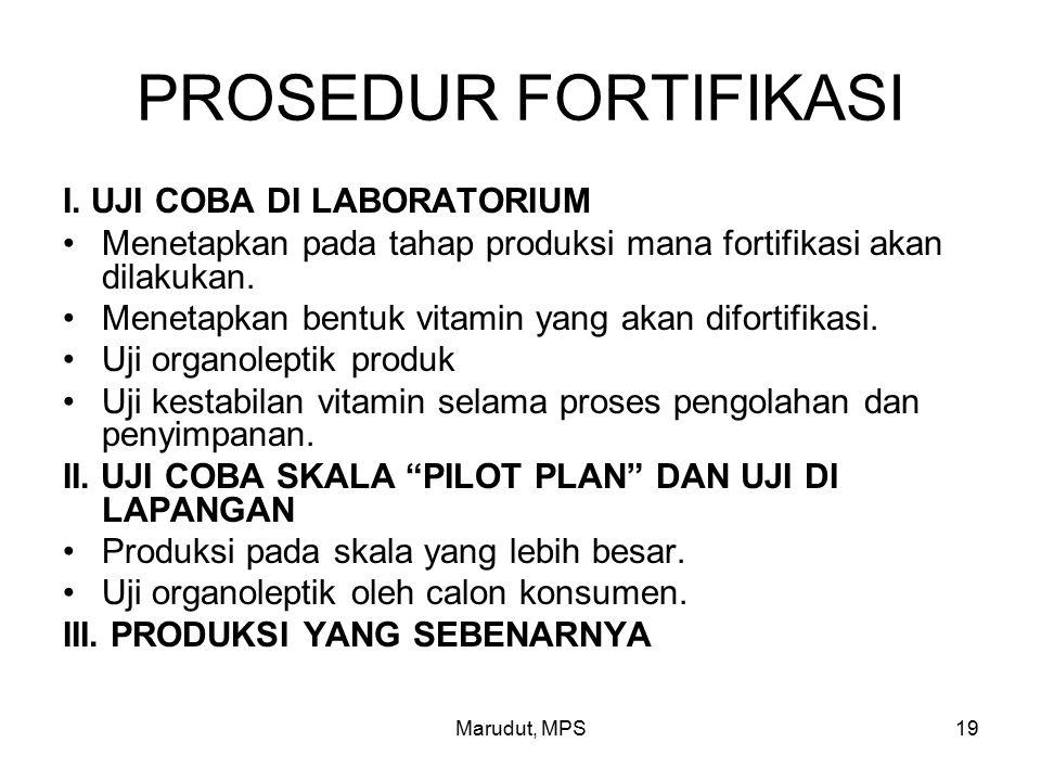 PROSEDUR FORTIFIKASI I. UJI COBA DI LABORATORIUM