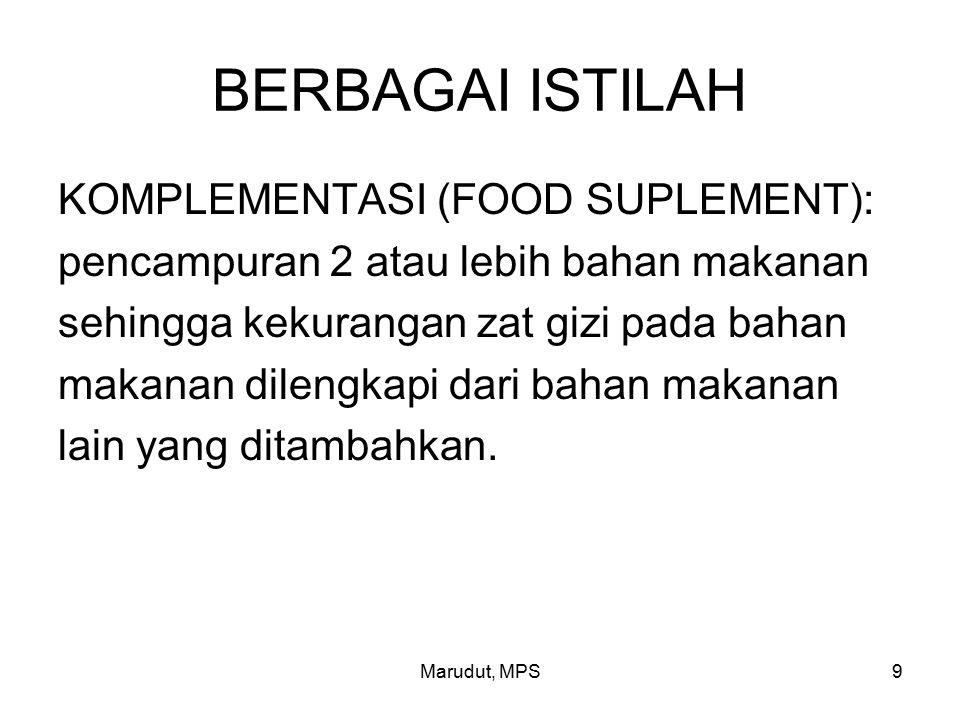BERBAGAI ISTILAH KOMPLEMENTASI (FOOD SUPLEMENT):
