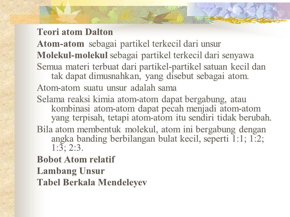 Teori atom Dalton Atom-atom sebagai partikel terkecil dari unsur. Molekul-molekul sebagai partikel terkecil dari senyawa.
